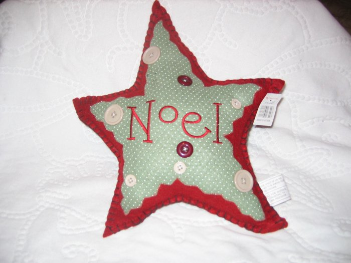 """Primitive Country Style Christmas  """"Noel""""  Star Shapped Pillow"""