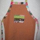Girls Handmade Apron 6-10 years IvoryBurgundy Check