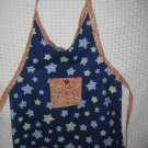 Toddler Handmade Apron 3-6 years Navy and Lime Stars