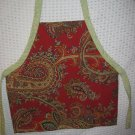Toddler Handmade Apron 3-6 years Cranberry Red and Green Paisley Print