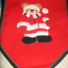 Red Fleece and Felt Table Runner Teddy Bear Santa