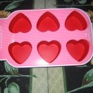 Nwt  Red Silicone 6 Heart Cupcake/muffin Pan