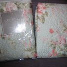 Nwt Pillow Sham Blue and Pink Shabby Floral Print Lot of 2