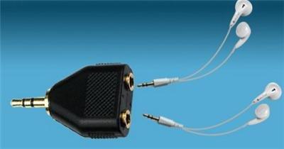 LOTS 4 HEADPHONE Earphone SPLITTER 3.5MM JACK 2 SOCKET MP3 CD