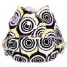 Design printed Coth Diaper - Black Yellow Swirl
