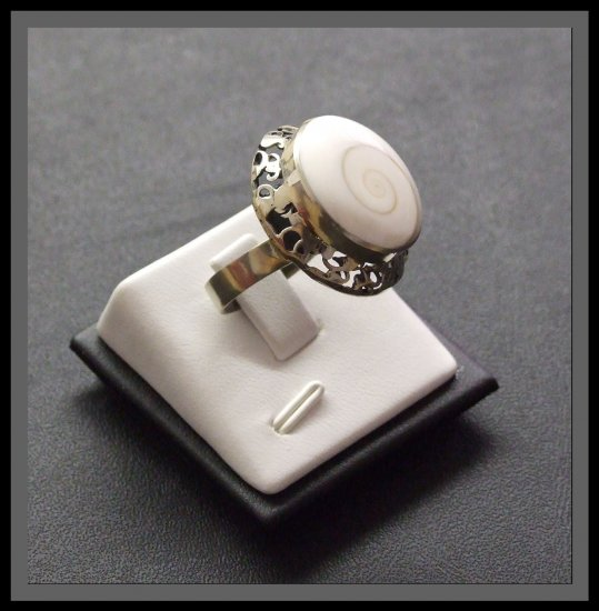 Adjustable Silver Ring with shell