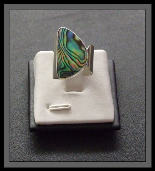 Adjustable Silver Ring with Mother Of Pearl