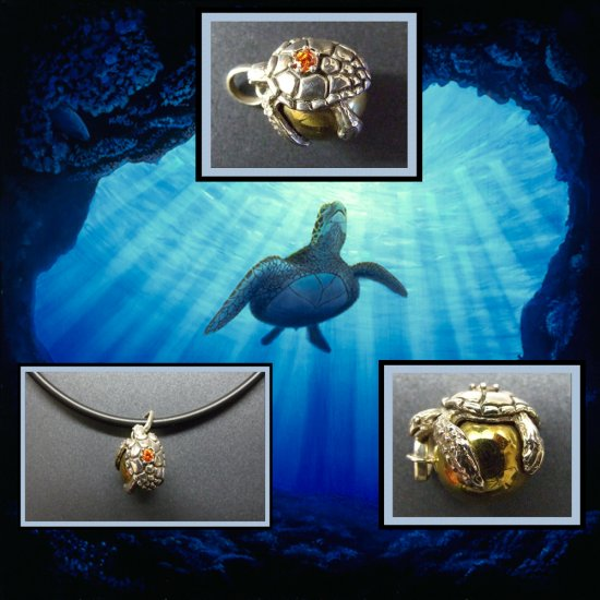 Silver Turtle On Brass Sphere Necklace