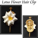 Lotus Flower On Grass woven Hair-Clip With Wooden pin