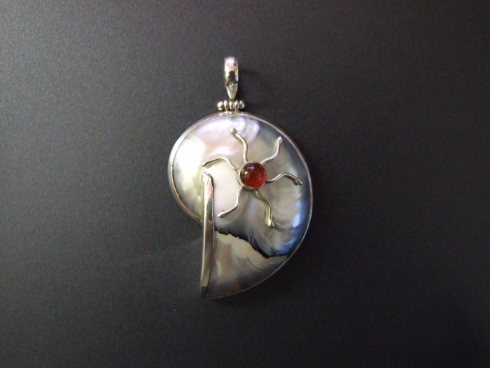 Silver Pendant with Mother Of Pearl and Sun Design