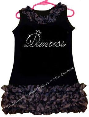 Rhinestone Princess Zebra Chiffon Ruffled Dress