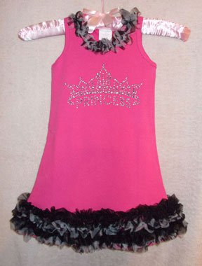 Hot Pink Princess Rhinestone Crown Chiffon Ruffled Dress