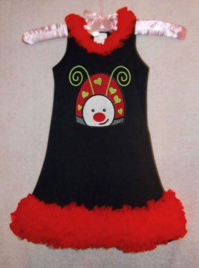 Sequin Applique Lady Bug Chiffon Ruffled Dress