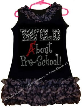 Rhinestone Wild About Pre-School Zebra Chiffon Ruffled Dress