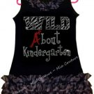Rhinestone Wild About Kindergarten Zebra Chiffon Ruffled Dress