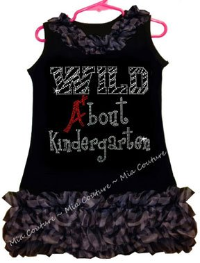 Rhinestone Wild About Kindergarten Zebra Chiffon Ruffled Dress