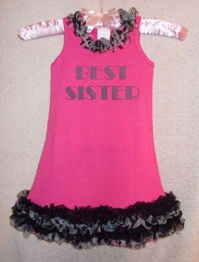 Sparkly Best Sister Hot Pink & Zebra Ruffled Dress