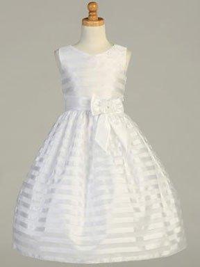 Striped organza Christening gown