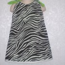 Girl's Zebra Print/Neon Green Reversible A-Line Dress