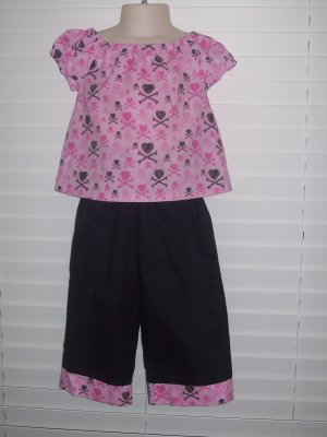 Pink/Black Heart Handmade Outfit, Size 2T