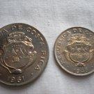 Costa Rica, 25 Centimos, 1 Colon, 1948, 1961, Uncirculated