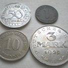 Germany, Type Set (pre 1945), 1 Pfennig, 10, Pfennig, 50 Pfennig, 3 Mark
