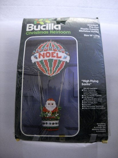 Needlepoint plastic canvas kit from Bucilla (Made in USA) - High Flying Santa