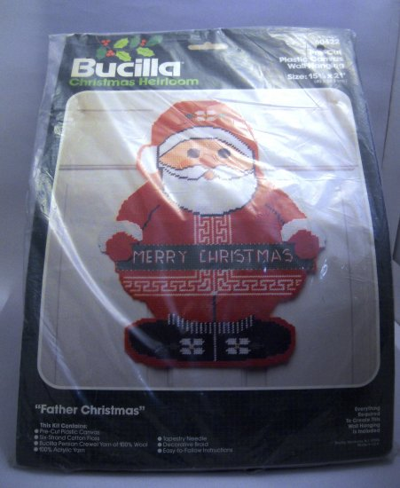Needlepoint plastic canvas kit from Bucilla (Made in USA) - Father Christmas