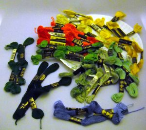 DMC Embroidery Floss 41 skeins - 8 reds, 11 yellow/golds, 19 greens, 3 blues