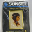 Counted Cross Stitch Kit from Sunset (1984)  - Native American Girl