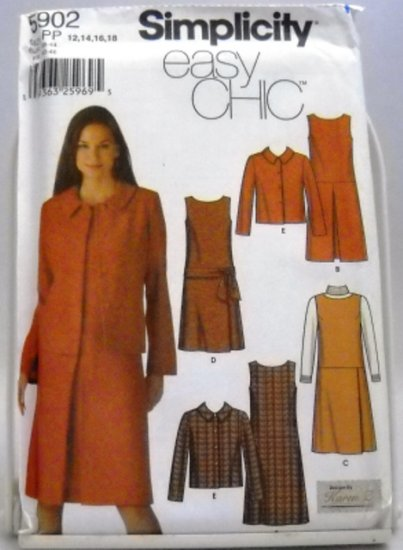 Pattern 5902 from Simplicity (2002) Size PP (12,14,16,18) - Easy Chic