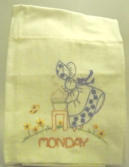Seven Hand Embroidered Tea Towels/Dish Towels (one for each day of the week) - Gay Colonial Miss