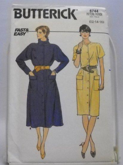 Butterick Pattern 6744 Size (12,14,16) - Misses' Dress pattern
