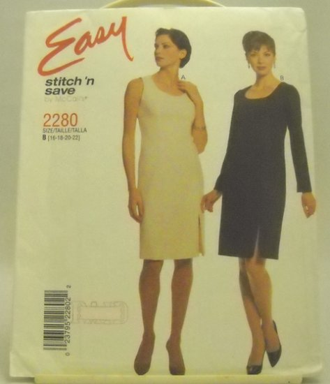 Pattern 2280 from Stitch 'N Save by McCall's (1999) Size B (16,18,20,22) - Misses' dress pattern