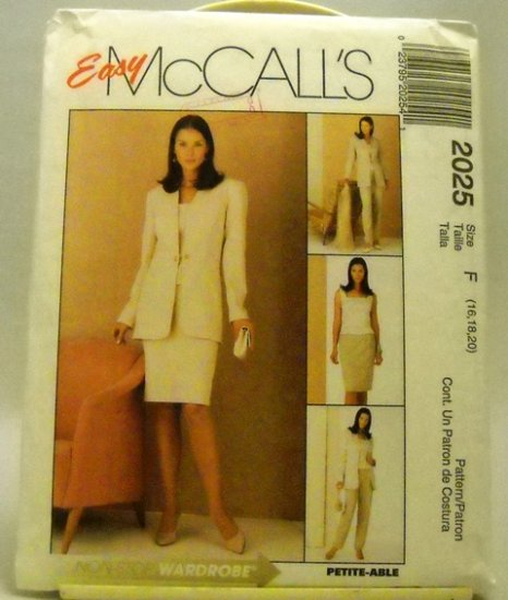 Pattern 2025 from McCalls (1999) Size F (16,18,20) - Misses' four-piece pattern