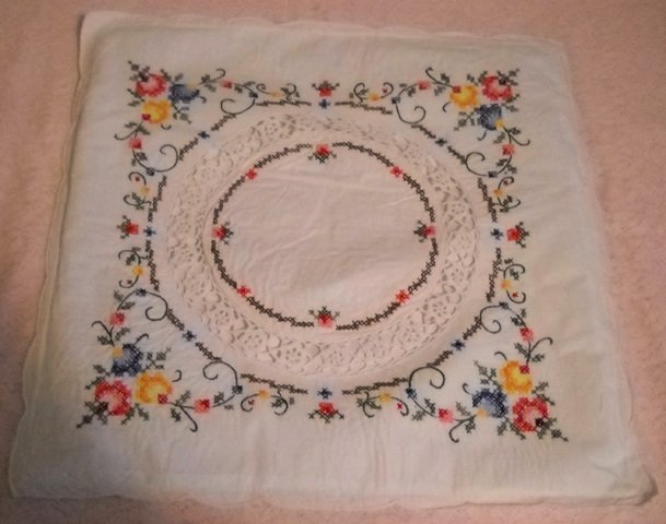 Hand Stitched Pillow cover - Cross stitched and crocheted