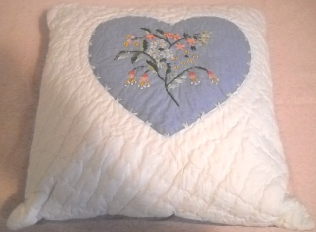Pillow cover - Hand Quilted with heart applique embellished with Ribbon Embroidery