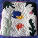 Small Pillow cover - Hand Quilted with fish applique