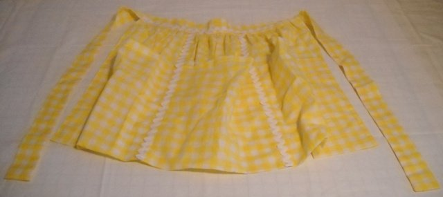 Yellow Gingham Apron - Hand made