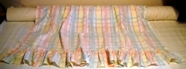 Pastel Plaid Window Curtain Panel Trimmed with Ruffle - Handcrafted