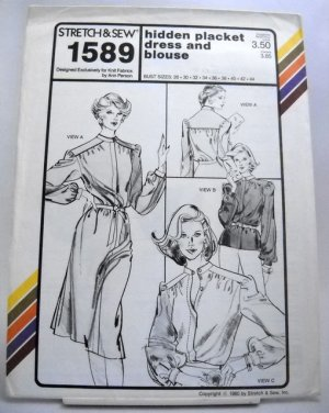 Stretch & Sew Pattern 1589 - (1980) - hidden placket dress and blouse