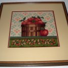 Completed Framed (with glass) Needlepoint Picture - Basket of Apples