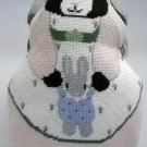 Completed Needlepoint Pillow/Toy -  Mama Bunny holding baby bunny