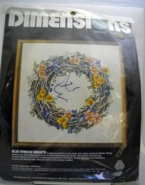 Crewel Embroidery Kit from Dimensions, Inc.  (Made in USA 1984) - Blue Ribbon Wreath