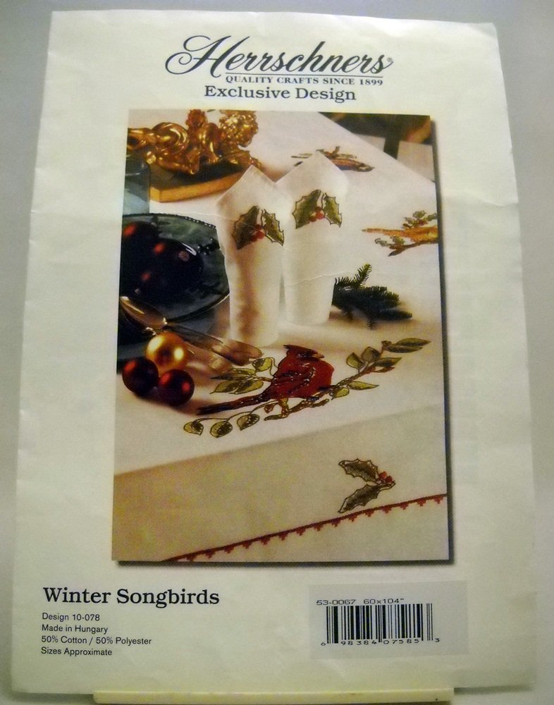 Stamped EmbroideryTablecloth from Herrchners - Winter Songbirds - design 10-078