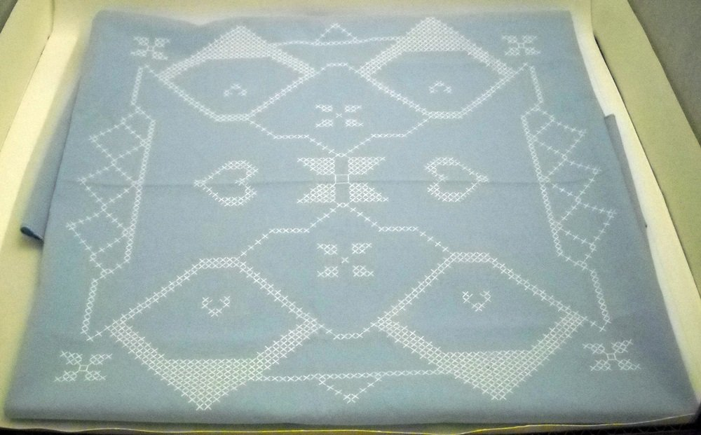 """Stamped Cross Stitch Square Table Topper 34"""" x 34"""""""