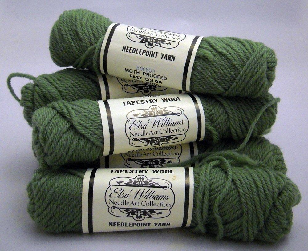 Elsa Williams Needlepoint Yarn 40 yd (36.6 meters) per skein - 7 skeins moss green N414