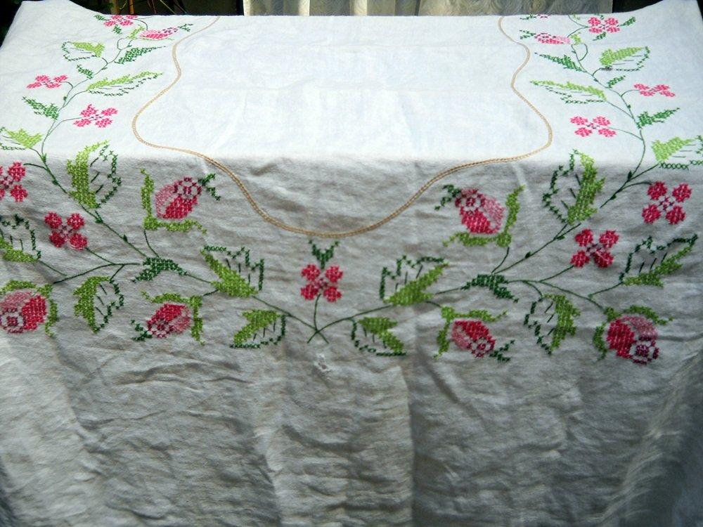 Vintage Medium Size Finished Cross Stitch Tablecloth