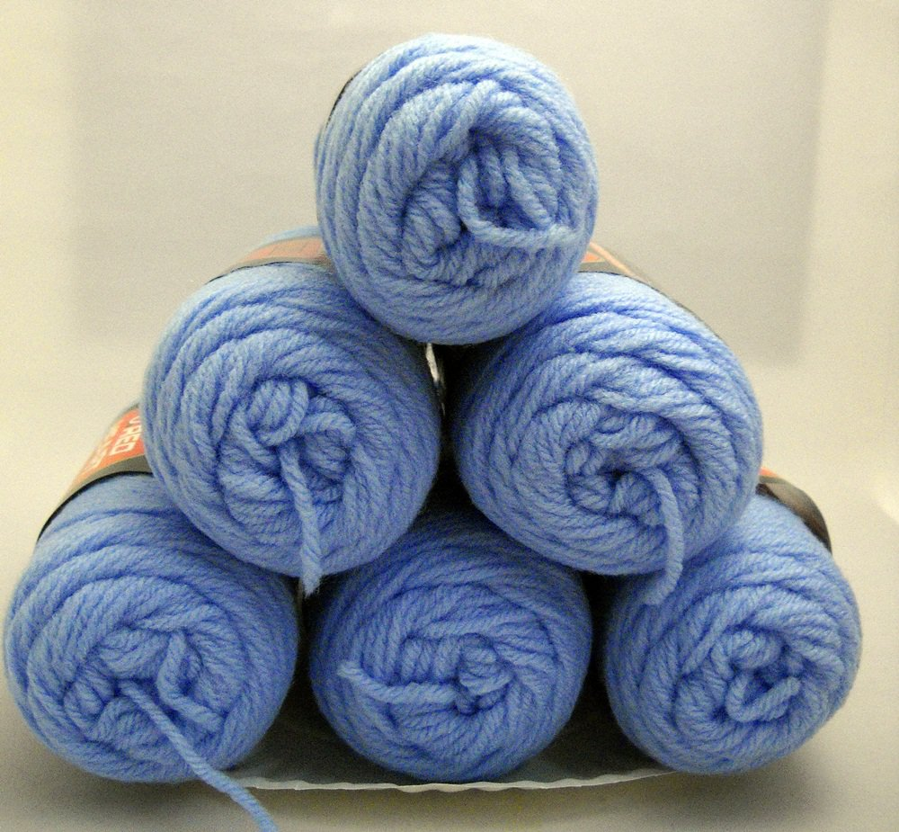 Red Heart Classic Yarn from Coats & Clark 3.5 oz (100 g) skein - Lot of 6 skeins color blue jewel