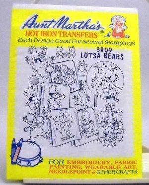 Aunt Martha's Hot Iron Transfers from Colonial Patterns, Inc. - 3809 Lotsa Bears
